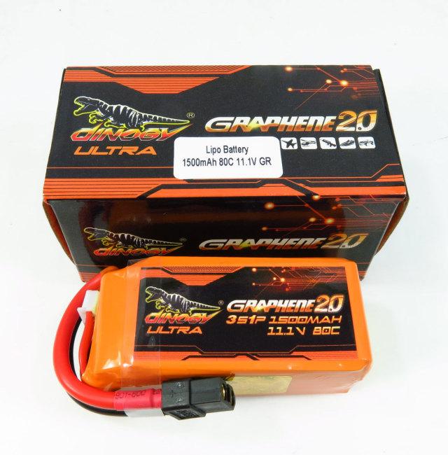 DINOGY ダイノジー Ultra Graphene 2.0 リポバッテリー 11.1V1500mAh 80C (LC-3S1500XTU)FPVレーサーに最適