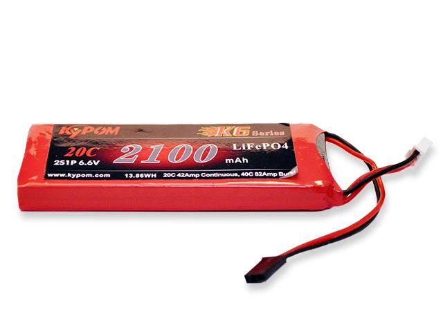 キーポン KYPOM K6 6.6V2100mAh 20C 平型(KTTX2100HP20-2S(B)) 送受信機用LiFeバッテリー